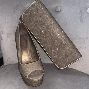Aldo Bronze Sparkly Clutch